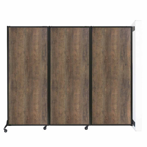 "Wall-Mounted QuickWall Folding Partition 8'4"" x 6'8"" Urban Oak Wood Grain"
