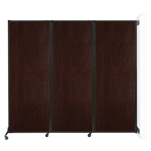 """Wall-Mounted QuickWall Folding Partition 8'4"""" x 7'4"""" Espresso Cherry Wood Grain"""