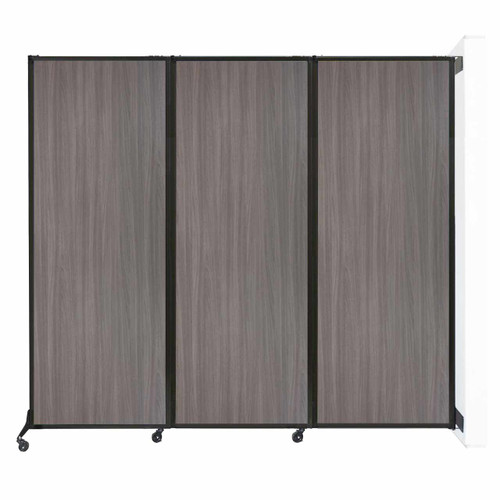 "Wall-Mounted QuickWall Folding Partition 8'4"" x 7'4"" Gray Elm Wood Grain"