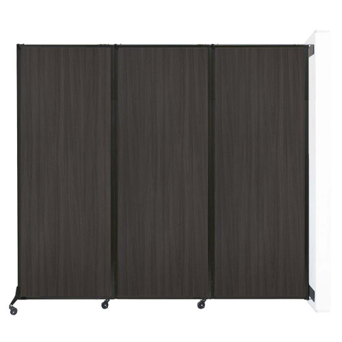 """Wall-Mounted QuickWall Folding Partition 8'4"""" x 7'4"""" Carbon Ash Wood Grain"""