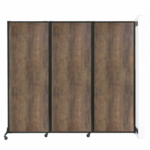 "Wall-Mounted QuickWall Folding Partition 8'4"" x 7'4"" Urban Oak Wood Grain"