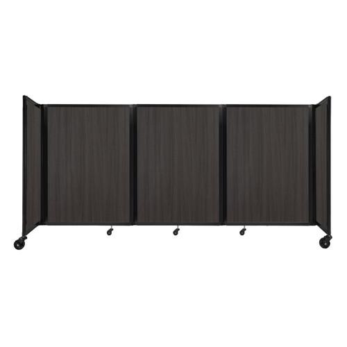 """Room Divider 360 Folding Portable Partition 8'6"""" x 4' Carbon Ash Wood Grain"""