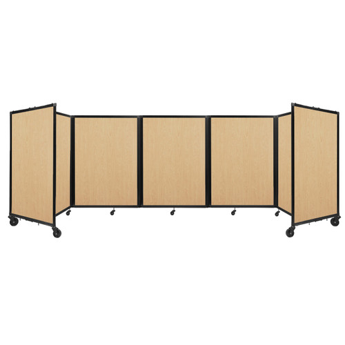 Room Divider 360 Folding Portable Partition 14' x 4' Natural Maple Wood Grain