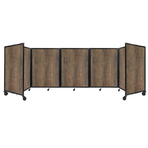 Room Divider 360 Folding Portable Partition 14' x 4' Urban Oak Wood Grain