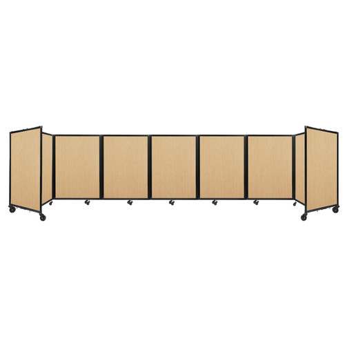"""Room Divider 360 Folding Portable Partition 19'6"""" x 4' Natural Maple Wood Grain"""