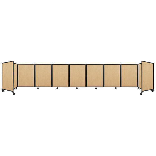 Room Divider 360 Folding Portable Partition 25' x 4' Natural Maple Wood Grain