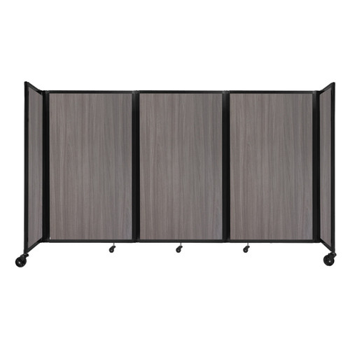 "Room Divider 360 Folding Portable Partition 8'6"" x 5' Gray Elm Wood Grain"