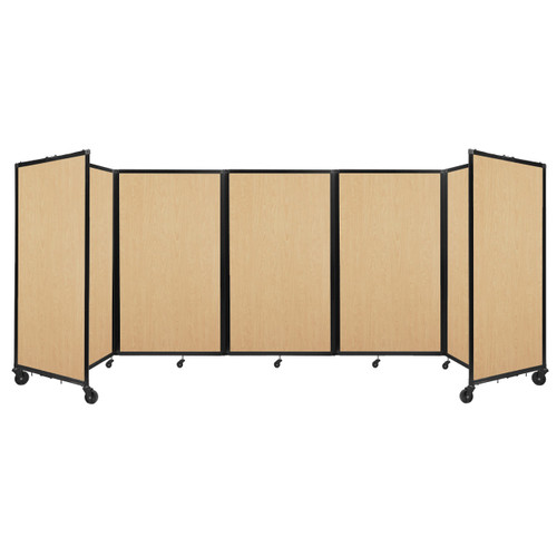 Room Divider 360 Folding Portable Partition 14' x 5' Natural Maple Wood Grain