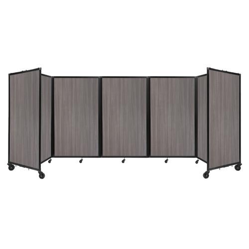 Room Divider 360 Folding Portable Partition 14' x 5' Gray Elm Wood Grain