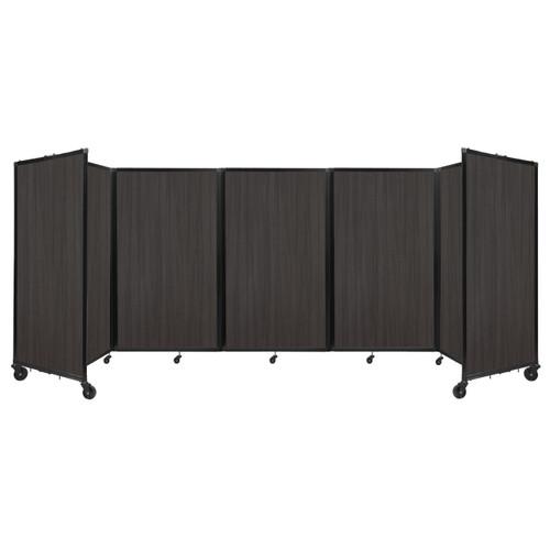 Room Divider 360 Folding Portable Partition 14' x 5' Carbon Ash Wood Grain