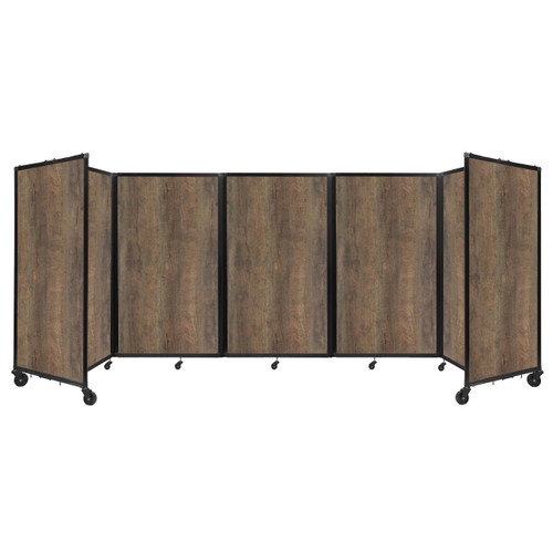 Room Divider 360 Folding Portable Partition 14' x 5' Urban Oak Wood Grain