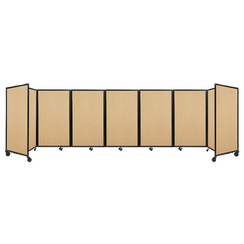 """Room Divider 360 Folding Portable Partition 19'6"""" x 5' Natural Maple Wood Grain"""