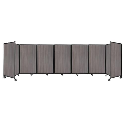 "Room Divider 360 Folding Portable Partition 19'6"" x 5' Gray Elm Wood Grain"