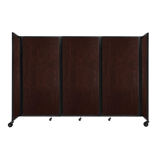 "Room Divider 360 Folding Portable Partition 8'6"" x 6' Espresso Cherry Wood Grain"