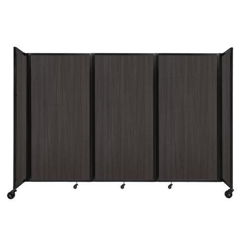 """Room Divider 360 Folding Portable Partition 8'6"""" x 6' Carbon Ash Wood Grain"""