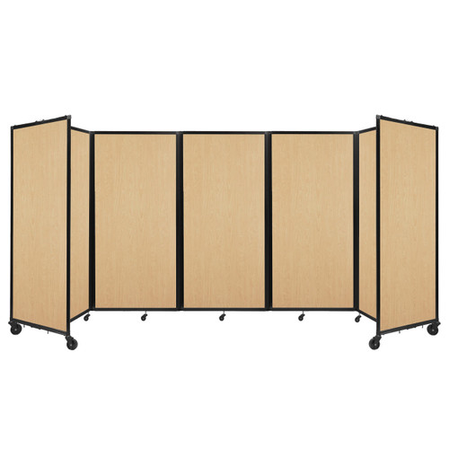Room Divider 360 Folding Portable Partition 14' x 6' Natural Maple Wood Grain
