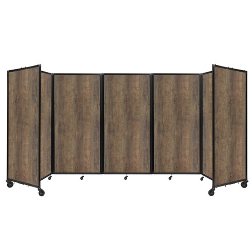 Room Divider 360 Folding Portable Partition 14' x 6' Urban Oak Wood Grain