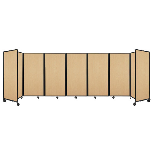 """Room Divider 360 Folding Portable Partition 19'6"""" x 6' Natural Maple Wood Grain"""