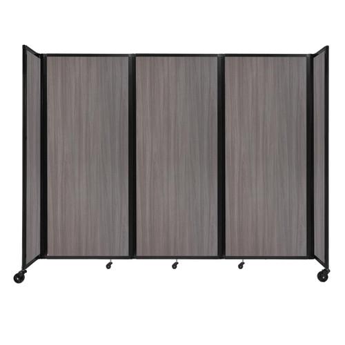 "Room Divider 360 Folding Portable Partition 8'6"" x 6'10"" Gray Elm Wood Grain"