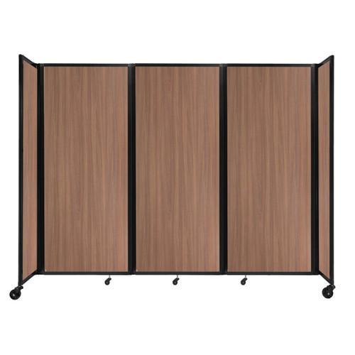 "Room Divider 360 Folding Portable Partition 8'6"" x 6'10"" River Birch Wood Grain"