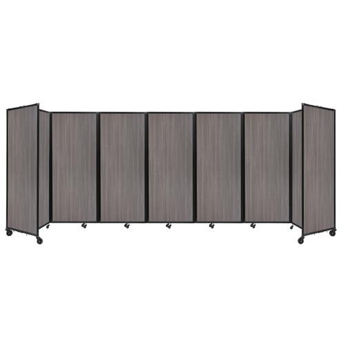 "Room Divider 360 Folding Portable Partition 19'6"" x 6'10"" Gray Elm Wood Grain"