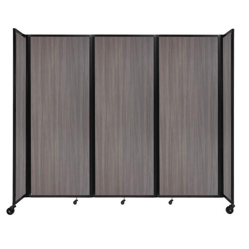 "Room Divider 360 Folding Portable Partition 8'6"" x 7'6"" Gray Elm Wood Grain"