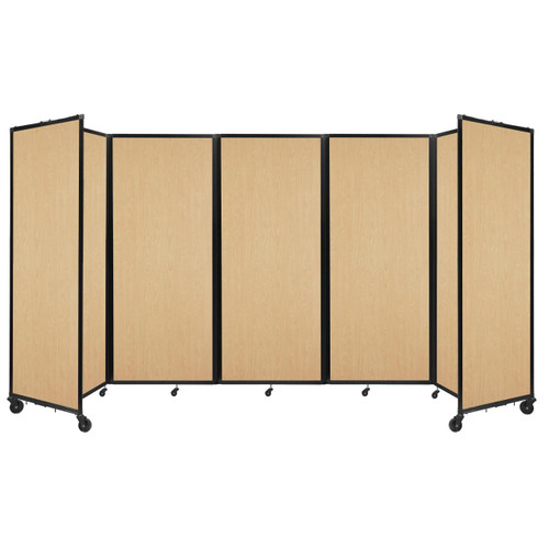 """Room Divider 360 Folding Portable Partition 14' x 7'6"""" Natural Maple Wood Grain"""