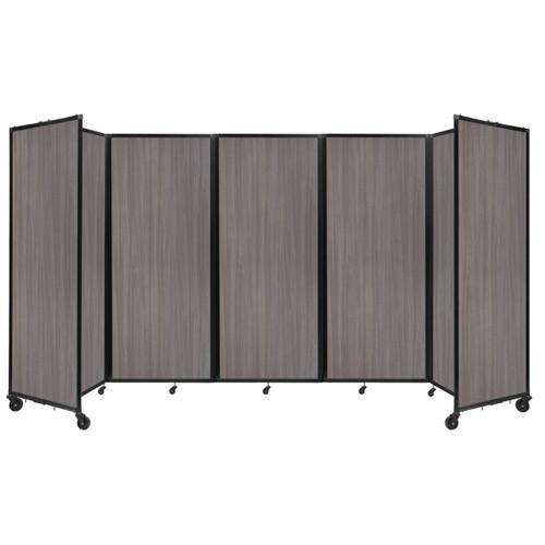"Room Divider 360 Folding Portable Partition 14' x 7'6"" Gray Elm Wood Grain"