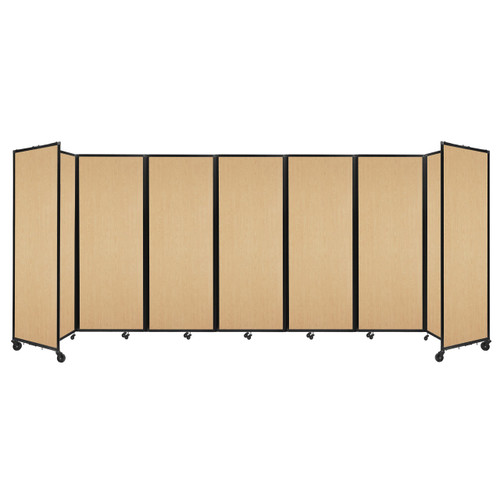 """Room Divider 360 Folding Portable Partition 19'6"""" x 7'6"""" Natural Maple Wood Grain"""