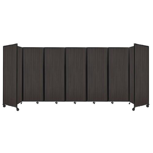 """Room Divider 360 Folding Portable Partition 19'6"""" x 7'6"""" Carbon Ash Wood Grain"""