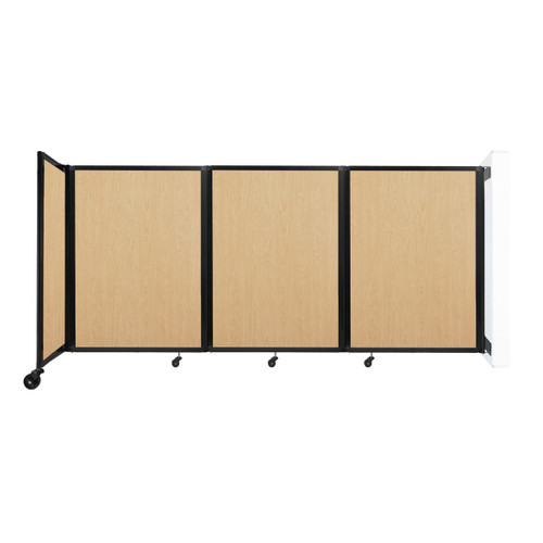 """Wall-Mounted Room Divider 360 Folding Portable Partition 8'6"""" x 4' Natural Maple Wood Grain"""