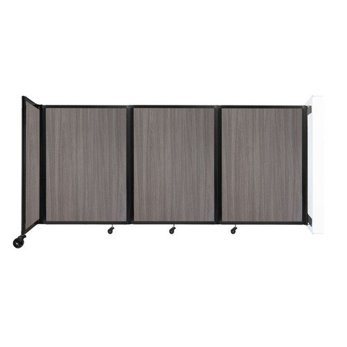 """Wall-Mounted Room Divider 360 Folding Portable Partition 8'6"""" x 4' Gray Elm Wood Grain"""