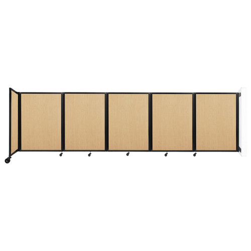 Wall-Mounted Room Divider 360 Folding Portable Partition 14' x 4' Natural Maple Wood Grain