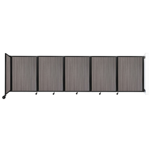 Wall-Mounted Room Divider 360 Folding Portable Partition 14' x 4' Gray Elm Wood Grain