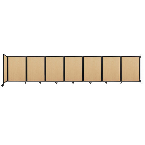 """Wall-Mounted Room Divider 360 Folding Portable Partition 19'6"""" x 4' Natural Maple Wood Grain"""