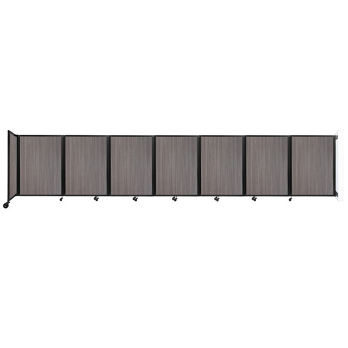 """Wall-Mounted Room Divider 360 Folding Portable Partition 19'6"""" x 4' Gray Elm Wood Grain"""