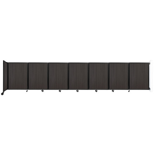 """Wall-Mounted Room Divider 360 Folding Portable Partition 19'6"""" x 4' Carbon Ash Wood Grain"""