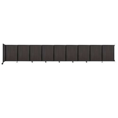Wall-Mounted Room Divider 360 Folding Portable Partition 25' x 4' Carbon Ash Wood Grain