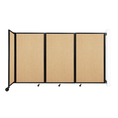 """Wall-Mounted Room Divider 360 Folding Portable Partition 8'6"""" x 5' Natural Maple Wood Grain"""