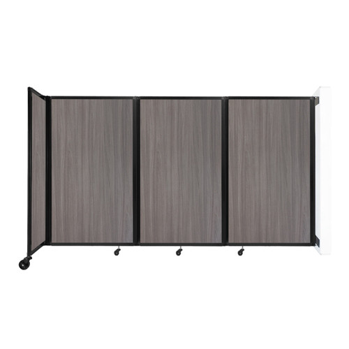 """Wall-Mounted Room Divider 360 Folding Portable Partition 8'6"""" x 5' Gray Elm Wood Grain"""