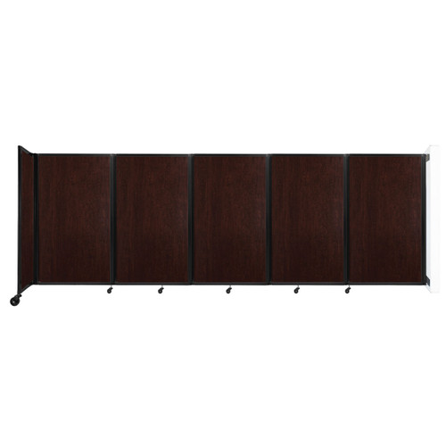 Wall-Mounted Room Divider 360 Folding Portable Partition 14' x 5' Espresso Cherry Wood Grain