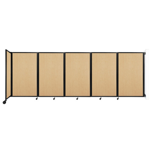 Wall-Mounted Room Divider 360 Folding Portable Partition 14' x 5' Natural Maple Wood Grain