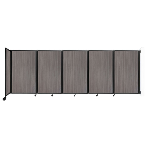 Wall-Mounted Room Divider 360 Folding Portable Partition 14' x 5' Gray Elm Wood Grain