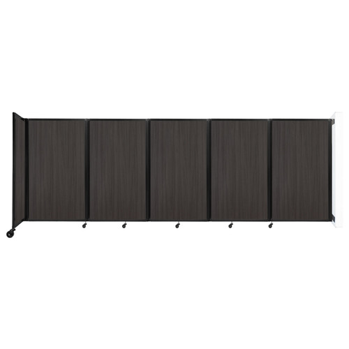 Wall-Mounted Room Divider 360 Folding Portable Partition 14' x 5' Carbon Ash Wood Grain