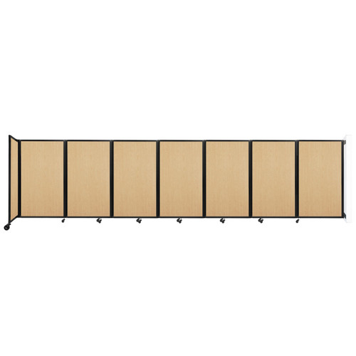 """Wall-Mounted Room Divider 360 Folding Portable Partition 19'6"""" x 5' Natural Maple Wood Grain"""