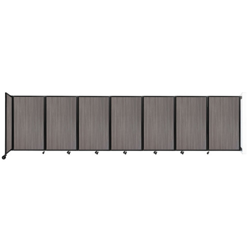 """Wall-Mounted Room Divider 360 Folding Portable Partition 19'6"""" x 5' Gray Elm Wood Grain"""