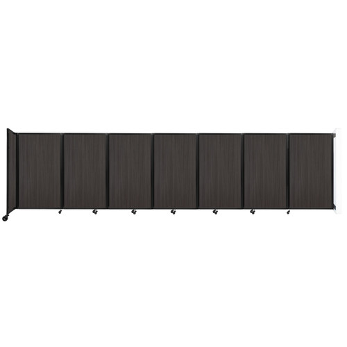 """Wall-Mounted Room Divider 360 Folding Portable Partition 19'6"""" x 5' Carbon Ash Wood Grain"""