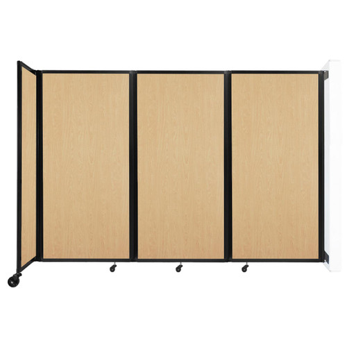 """Wall-Mounted Room Divider 360 Folding Portable Partition 8'6"""" x 6' Natural Maple Wood Grain"""