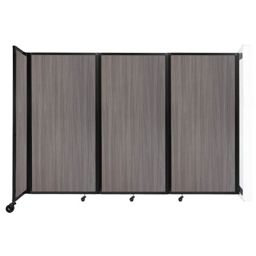 """Wall-Mounted Room Divider 360 Folding Portable Partition 8'6"""" x 6' Gray Elm Wood Grain"""