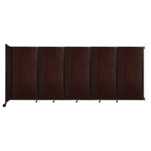 Wall-Mounted Room Divider 360 Folding Portable Partition 14' x 6' Espresso Cherry Wood Grain